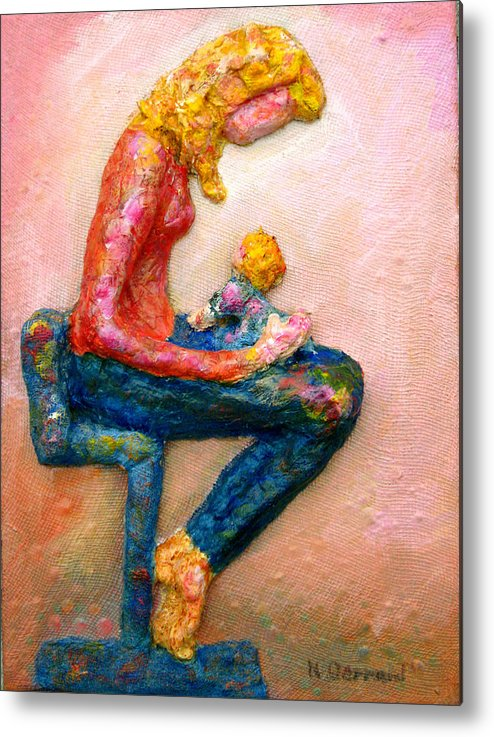 Mother And Child Metal Print featuring the painting Mother Bonding I by Naomi Gerrard