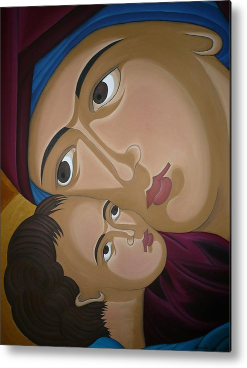 Marinella Owens Artist Oil Paintings Greek Icons Metal Print featuring the painting Mother-love by Marinella Owens