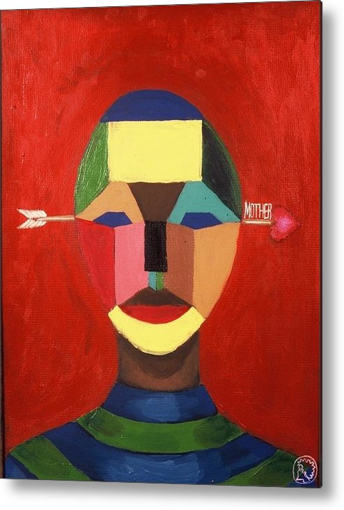 Mask Metal Print featuring the painting Mother by Malik Seneferu