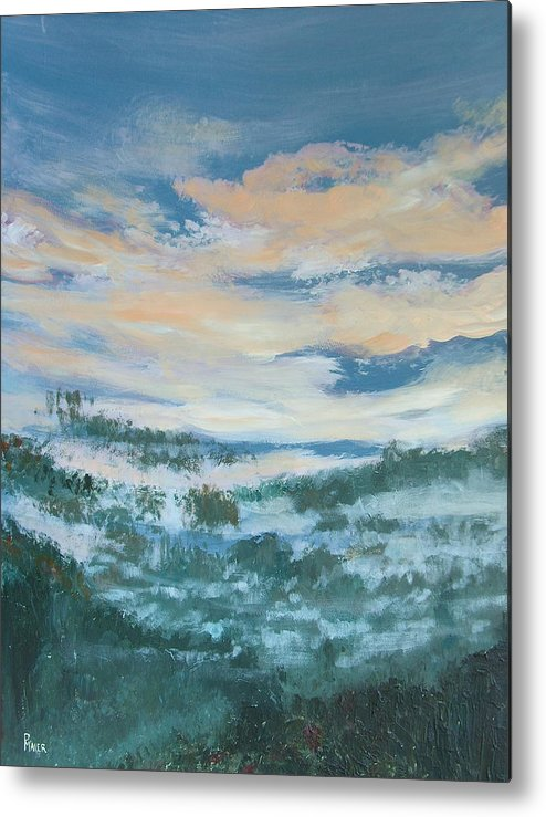 Landscape Metal Print featuring the painting Mountain Dew II by Pete Maier