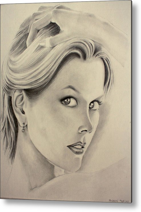 Portrait Drawing Metal Print featuring the drawing Ms. Kidman by Ted Castor
