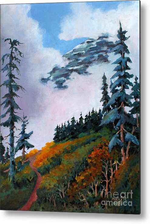 Landscape Metal Print featuring the painting Mt. Rainier 4 by Marta Styk