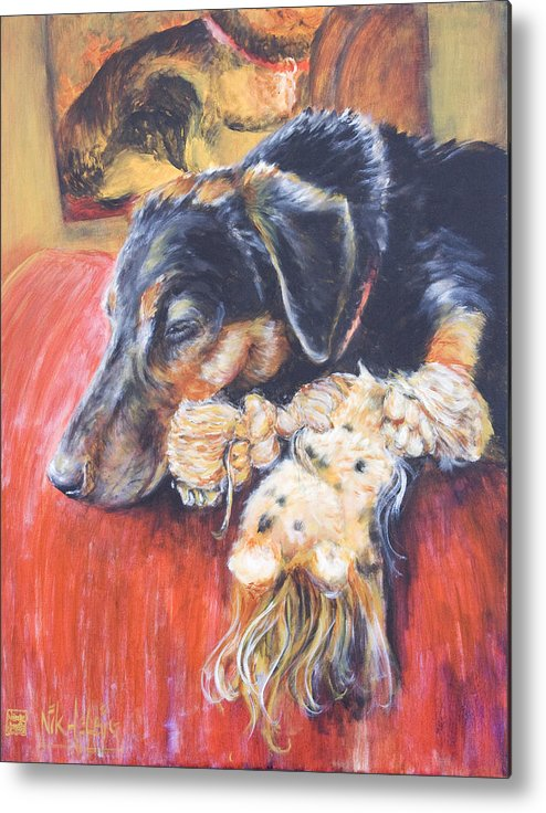 Dog Metal Print featuring the painting Murphy Viii by Nik Helbig