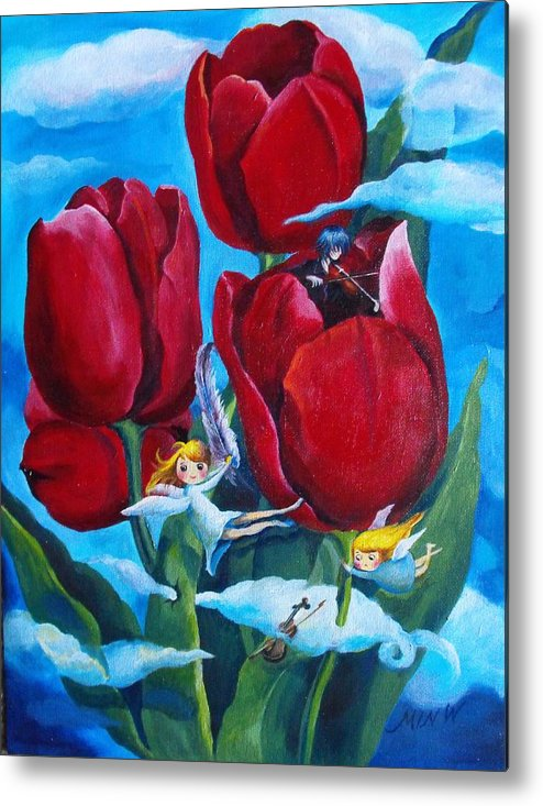 Tulips Metal Print featuring the painting Musical Tulips by Min Wang