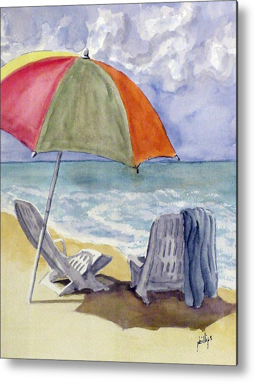 Umbrella Metal Print featuring the painting Must Be Swimming by Jim Phillips