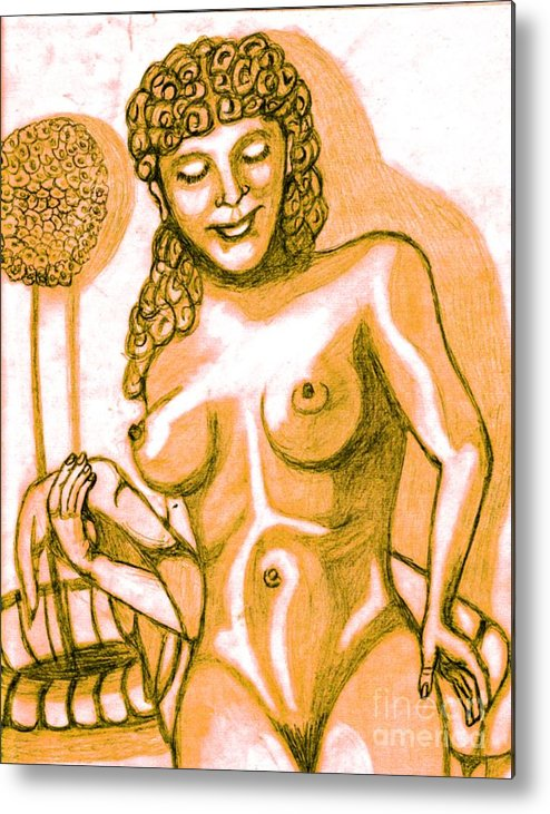 Statue Metal Print featuring the drawing Naked Goddess by Richard Heyman