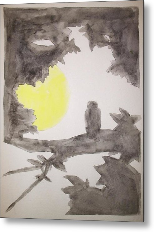 Owl Tree Moon Night Quiet Peaceful Nature Bird Wildlife Silhouette Image Solid Black Metal Print featuring the painting Night by William Douglas