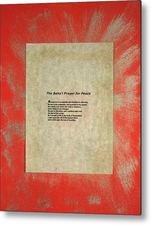 Peace Metal Print featuring the painting Peace Prayers - Baha'i Prayer For Peace by Emerald GreenForest