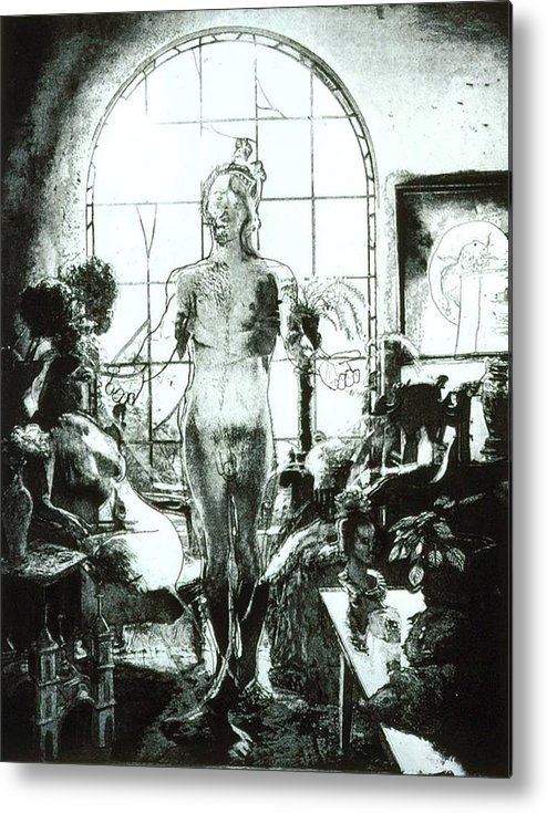 Nude Metal Print featuring the mixed media Peggy And Ed by Randy Sprout