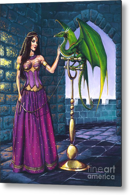 Dragon Metal Print featuring the painting Pet Dragon by Stanley Morrison