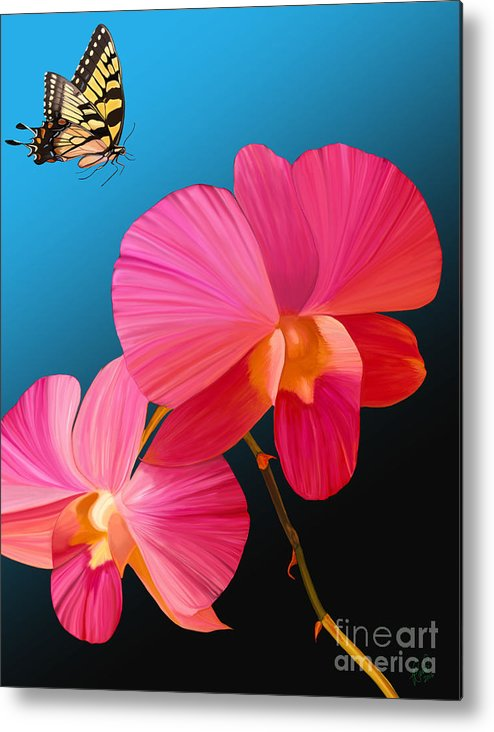 Pink Metal Print featuring the painting Pink Lux Butterfly by Rand Herron
