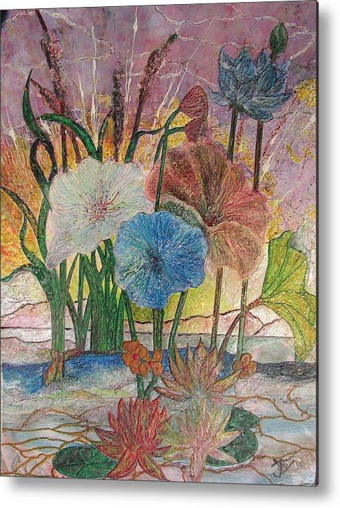 Floral Metal Print featuring the painting Pond by John Vandebrooke