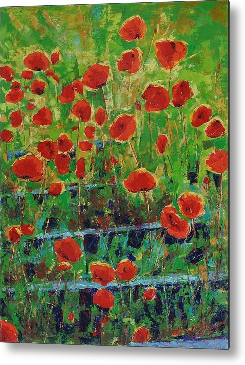 Poppies Metal Print featuring the painting Poppies And Traverses 1 by Iliyan Bozhanov