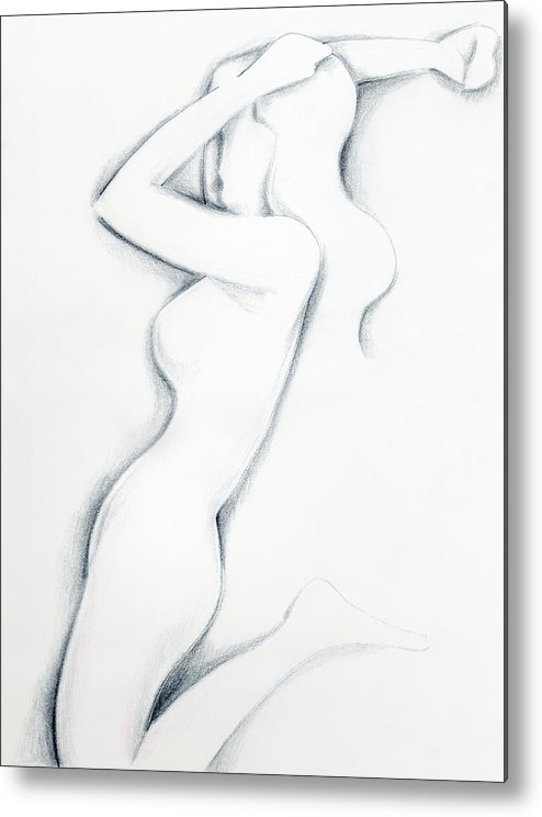 Pencil Drawing Metal Print featuring the drawing Porcelain by Keith A Link