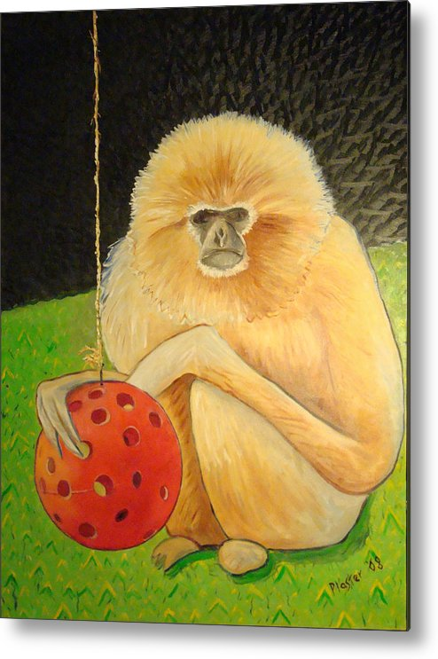 Animals Metal Print featuring the painting Psychic Monkey by Scott Plaster