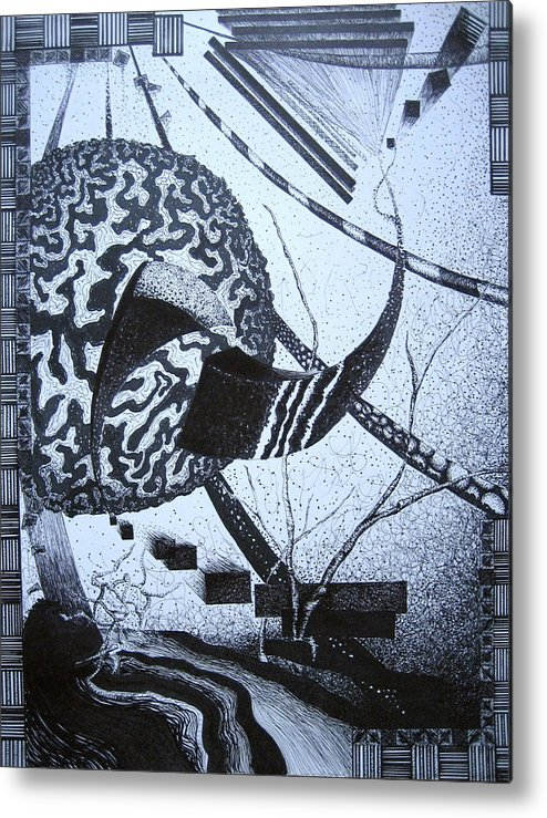 Abstract Metal Print featuring the drawing Puzzled by Jessica De la Torre