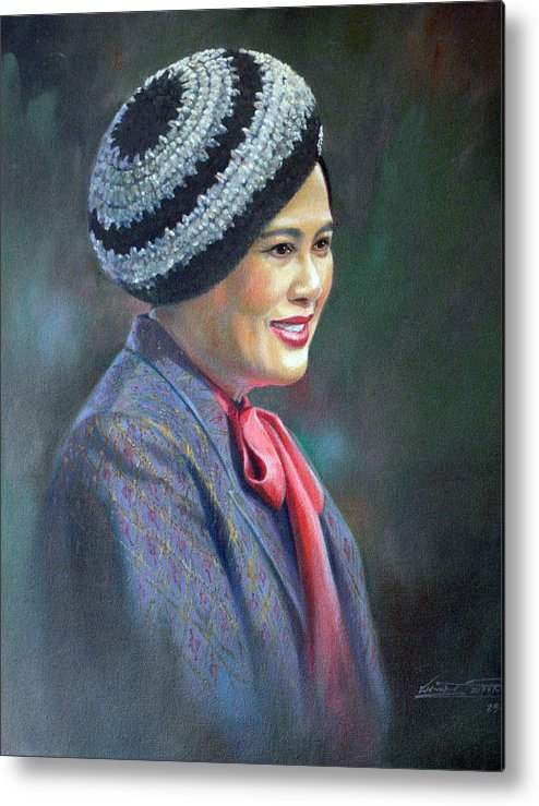 Portrait Metal Print featuring the painting Queen Sirikit by Chonkhet Phanwichien