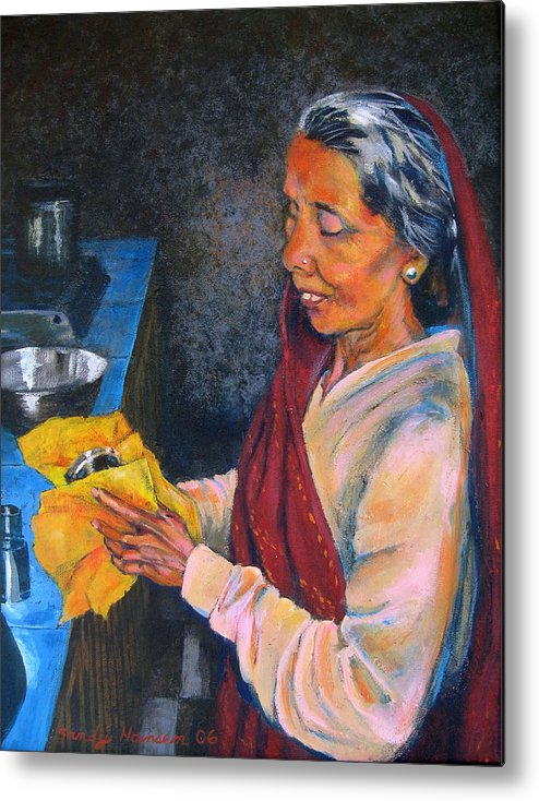 India Metal Print featuring the painting Rani The Cook by Art Nomad Sandra Hansen