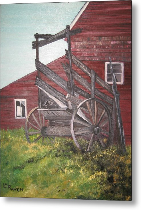 Landscape Metal Print featuring the painting Red Barn And Cattle Ramp by L A Raven