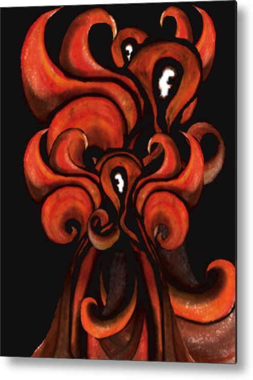 Fire Metal Print featuring the painting Red Flames by MandyCka Johnson