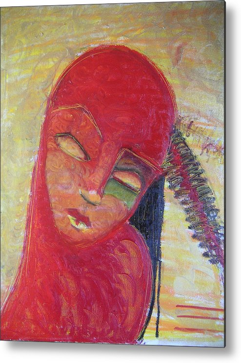 Portrait Metal Print featuring the painting Red Skin by Erika Brown