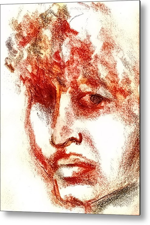 Red Metal Print featuring the drawing Red Woman by Dannielle Murphy