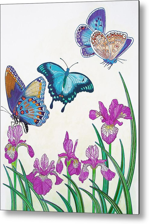 Butterflies Metal Print featuring the painting Rhapsody In Blue by Vlasta Smola