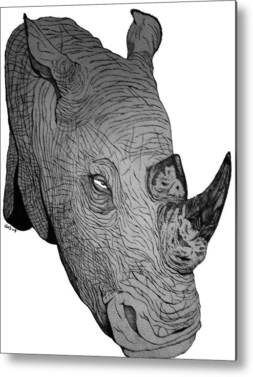 Rhino Animal Endangered Wildlife Nature Metal Print featuring the drawing Rhino by Nick Gustafson