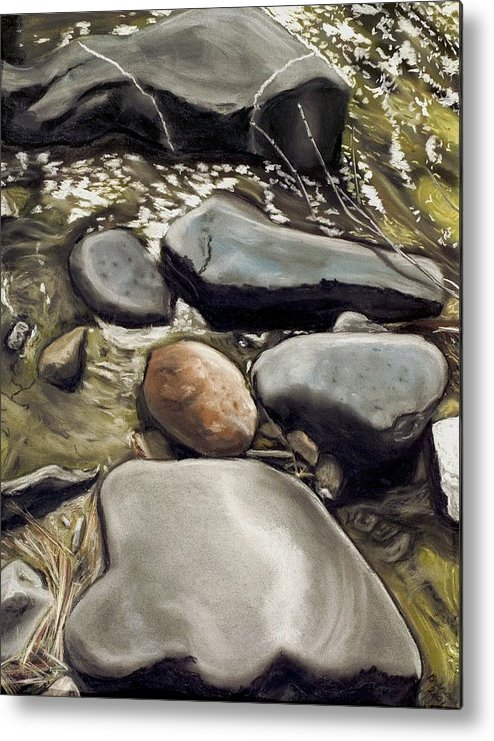 River Rock Metal Print featuring the painting River Rock Formations by Brenda Williams