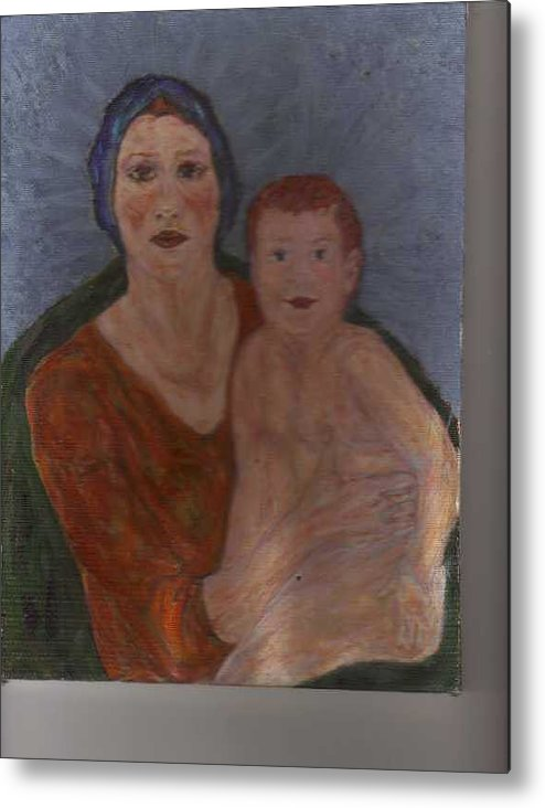 Strong Metal Print featuring the painting Russian Mother With Child by Nancy Caccioppo
