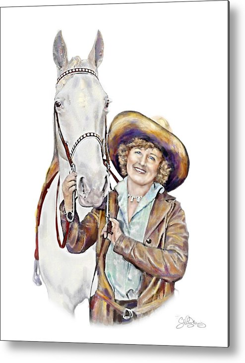 Cowgirl Metal Print featuring the painting Ruthie And The Silver Lady by Shirley Morris
