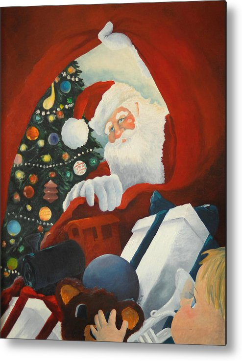 Santa Metal Print featuring the painting Santa's Toy Bag by Alicia Frese Klenk
