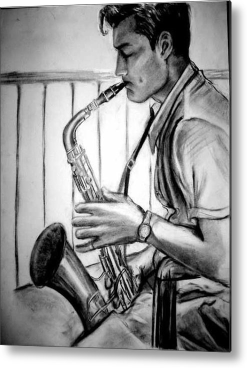 Handsome Man Metal Print featuring the drawing Saxophone Player by Laura Rispoli