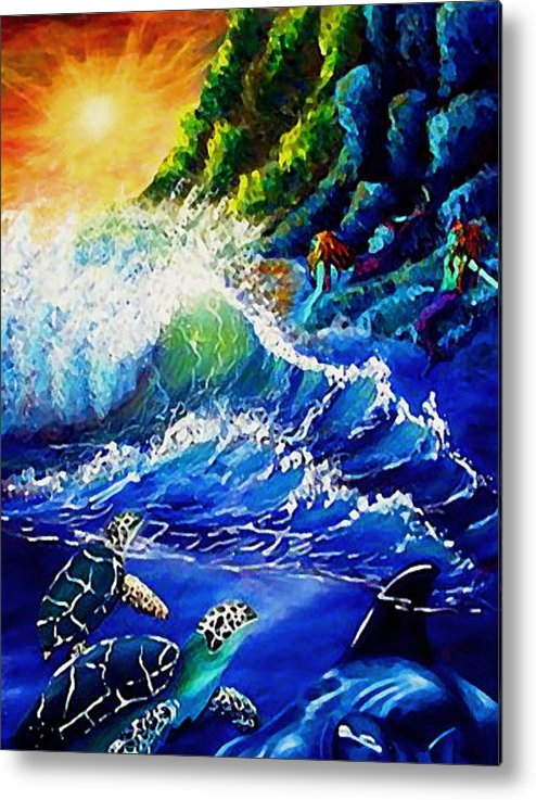 Sea Scape Metal Print featuring the painting Sea Life Fantasy by Elizabeth Lisy Figueroa