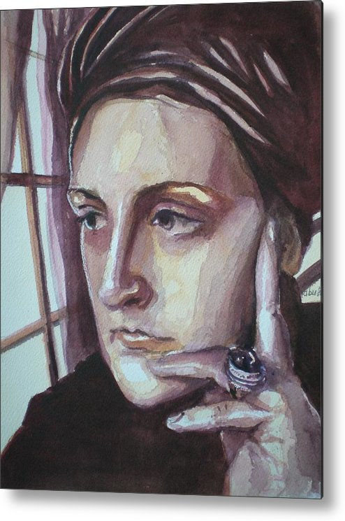 Self-portrait Metal Print featuring the painting Self-portrait At 30 by Aleksandra Buha