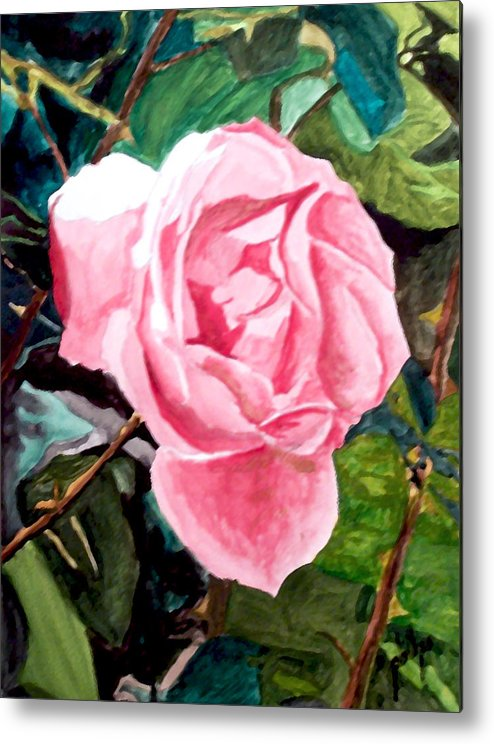 Rose Metal Print featuring the painting September Rose by Jim Phillips