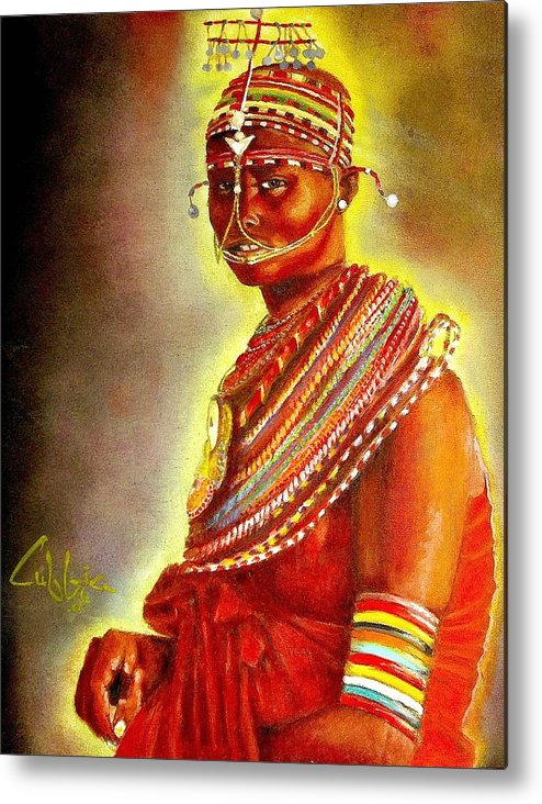 Maasai Brides Metal Print featuring the painting Serinna by G Cuffia