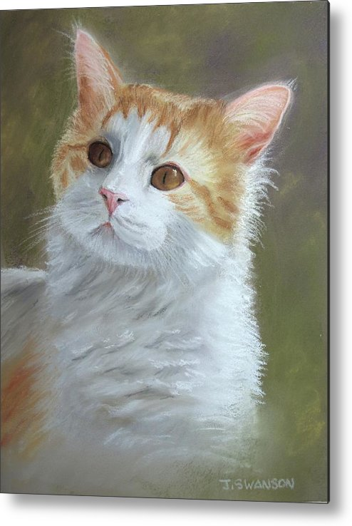 Cat Metal Print featuring the pastel Sienna by Joan Swanson