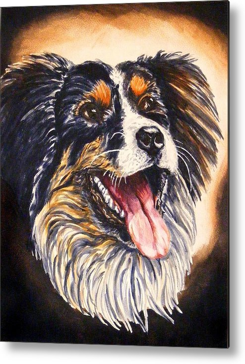 Dog Portraite Cannine Metal Print featuring the painting Smile by Donald Dean