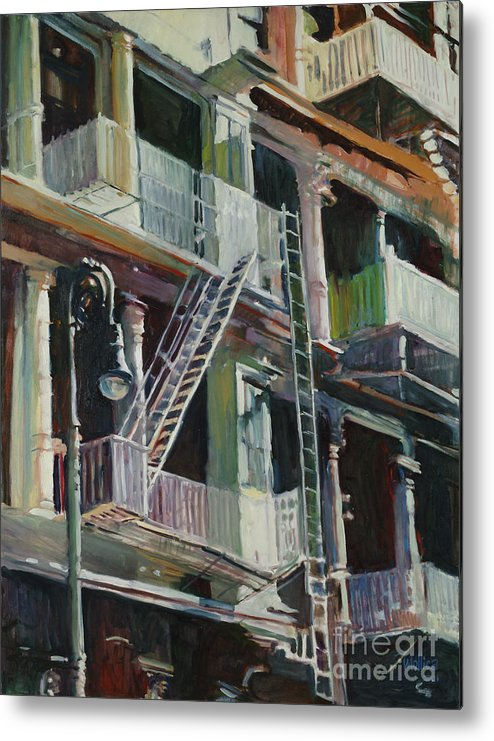 Urban Metal Print featuring the painting Soho Fire Escapes by Patti Mollica