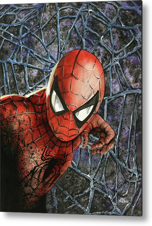 Spiderman Metal Print featuring the painting Spiderman by Marc Brawner