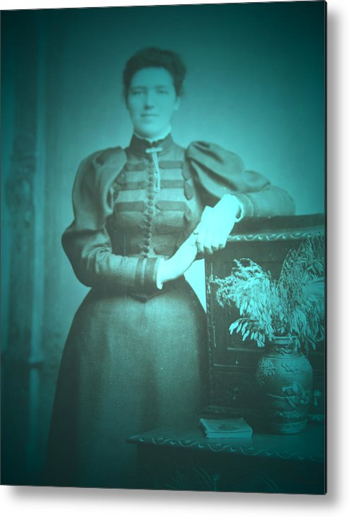Spinster Antique Photo Retouched Old Dress Classic Woman Lady Metal Print featuring the photograph Spinster Woman by Andrea Lawrence