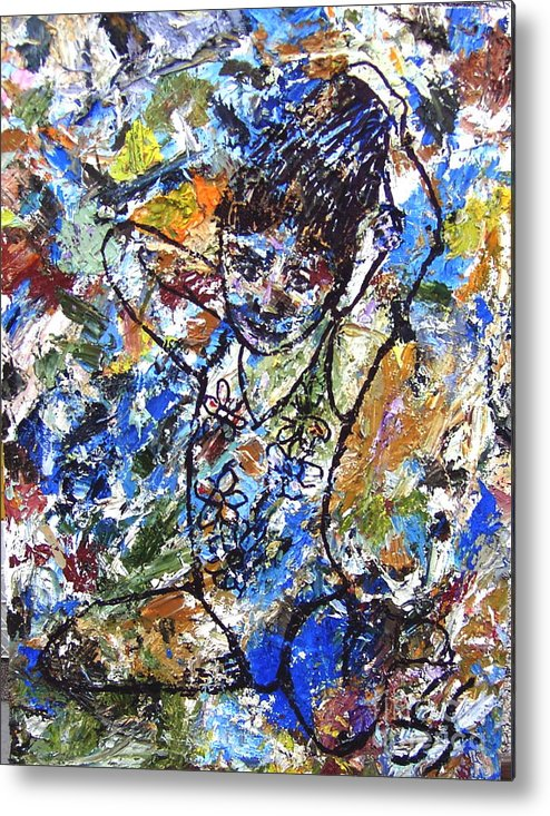 Abstract Metal Print featuring the painting Spirits Of My Palette - Christina by Santiago Chavez