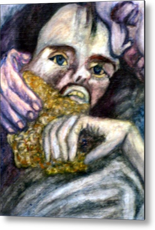 Spiritual Portrait Metal Print featuring the painting Sponge Christ Your Eyes by Stephen Mead