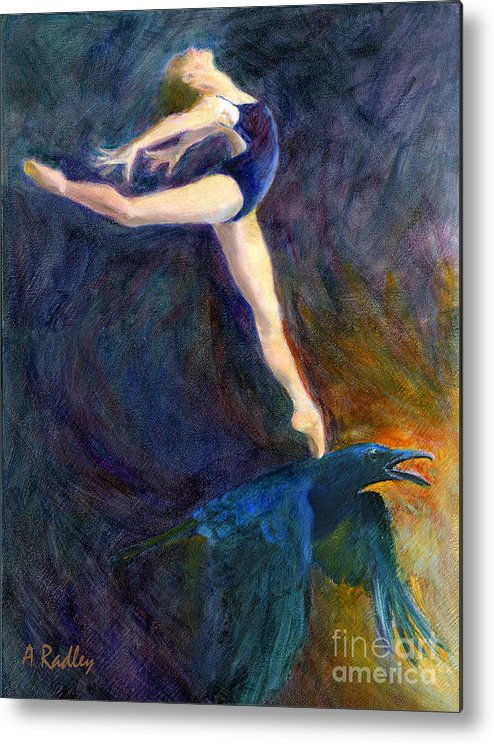 Raven Dance Dancer Sky Ballet Spirit Guide Heaven Light Figurative Bird Crow Ballerina Oil Pointe Shoes Ballet Slippers Mythology Sunrise Arabesque Transformation Animal Wildlife Leotard Metal Print featuring the painting Spring To Heaven by Ann Radley