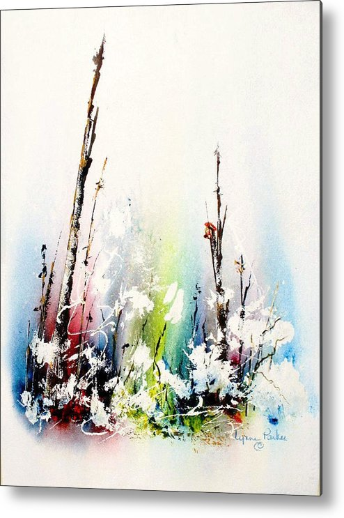 Snowy Scene Metal Print featuring the painting Spring Will Come by Lynne Parker