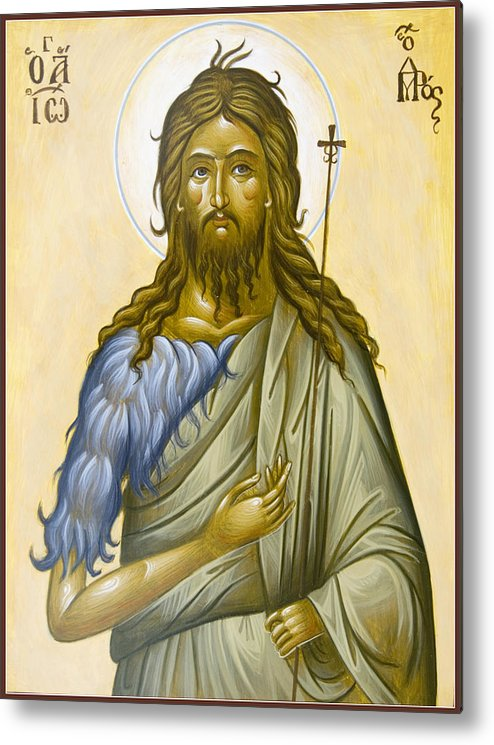Icon Metal Print featuring the painting St John The Forerunner by Julia Bridget Hayes