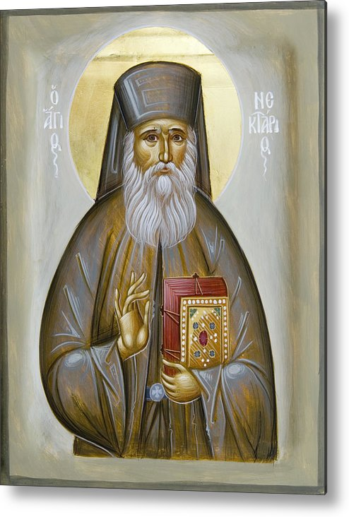Icon Metal Print featuring the painting St Nektarios Of Aigina by Julia Bridget Hayes