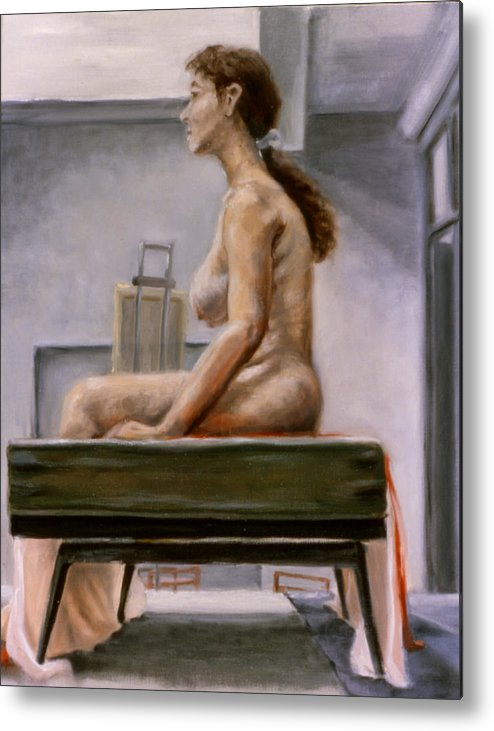 Woman Metal Print featuring the painting Still by John Clum