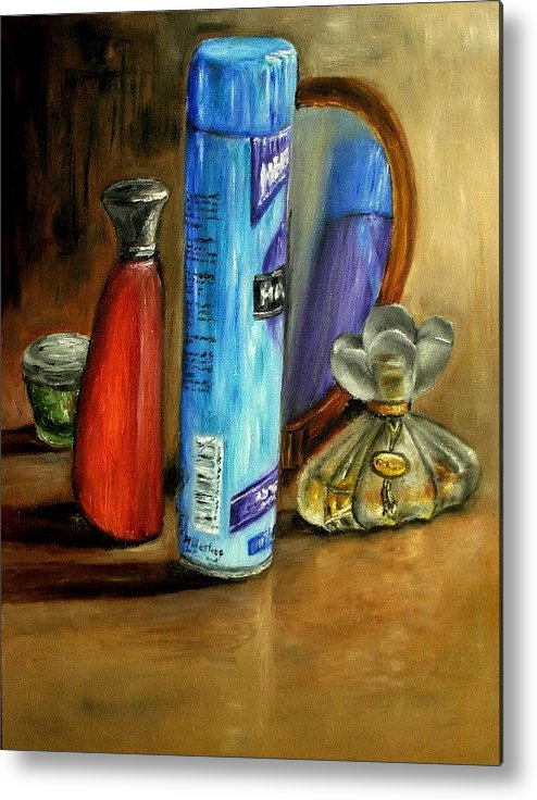 Still Life Metal Print featuring the painting Still Life Oil Painting by Natalja Picugina
